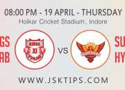 Free Betting Tips for SRH vs KXIP 16 Match IPL