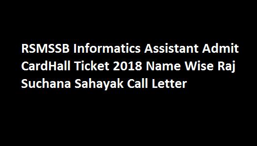 Rsmssb informatics assistant admit card 2018