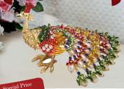 Buy bejeweled peacock for wish fulfillment showpiece