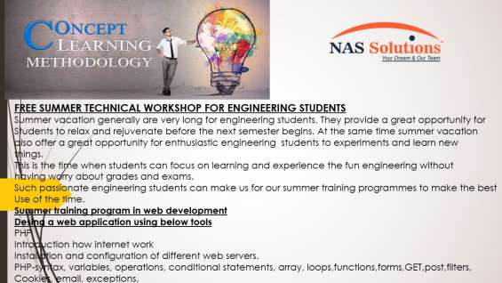 Summer workshops program with free certifications in lucknow