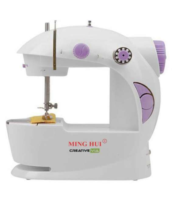 •	warranty: 6 months on product •	includes: sewing machine, adapter and foot pedal •	adjustable straight stitch and reverse sewing - practical mini machine for mending, hemming and basic sewing •	choice of foot pedal or auto-sewing mode - if it's not conv