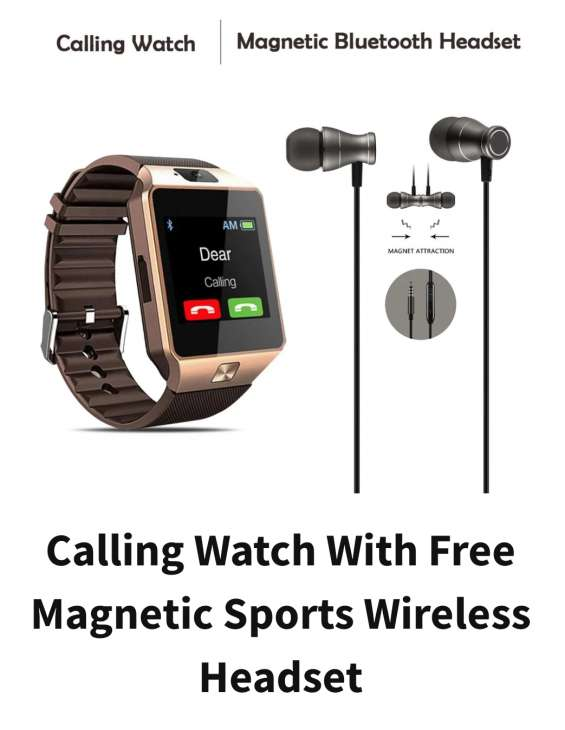 Calling watch with free magnetic sport wireless headset